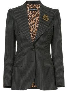 блейзер в тонкую полоску с аппликацией герба Dolce & Gabbana