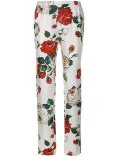 брюки с принтом роз  Dolce & Gabbana