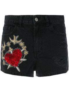джинсовые шорты с вышивкой Amen Amen.