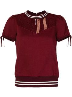 блузка с кружевной вставкой и бантом  Nº21