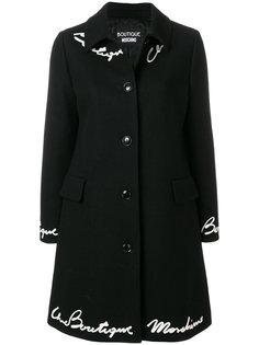 пальто с вышивкой  Boutique Moschino