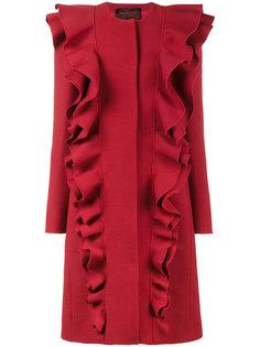 однобортное пальто с двойными оборками Giambattista Valli