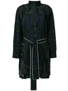 платье-рубашка в клетку с поясом Sacai