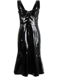 корсетное платье-миди из лакированной кожи Natasha Zinko