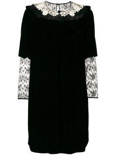 бархатное платье с кружевными вставками Blugirl