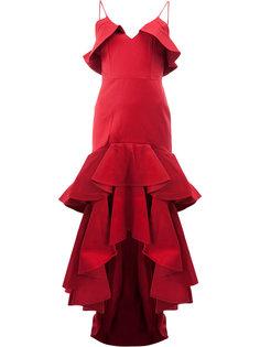 платье асимметричного кроя с рюшами Alexis