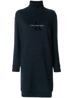 платье джерси с высокой горловиной и логотипом Calvin Klein Jeans