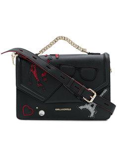 сумка на плечо с нашивками Karl Lagerfeld