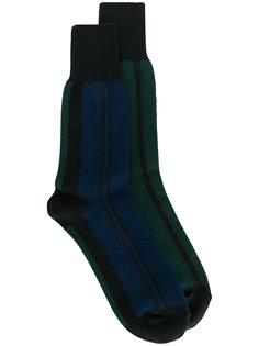 носки вязки интарсия с разными полосками Sacai