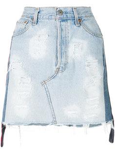 состаренная джинсовая мини-юбка Forte Couture