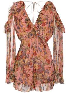 комбинезон с открытыми плечами и цветочным принтом Zimmermann