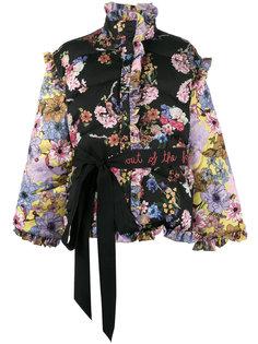 дутая куртка с рюшами, съемными рукавами и цветочным принтом Preen By Thornton Bregazzi