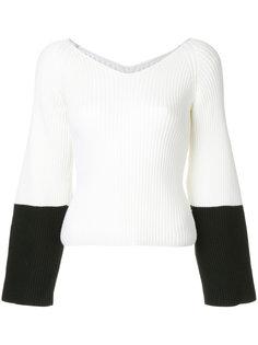 свитер в рубчик с контрастными манжетами Des Prés