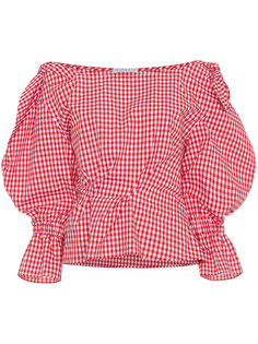 Michelle gingham puff sleeve blouse Rejina Pyo