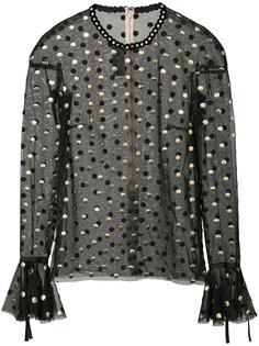 прозрачная блузка с узором в горох Monique Lhuillier