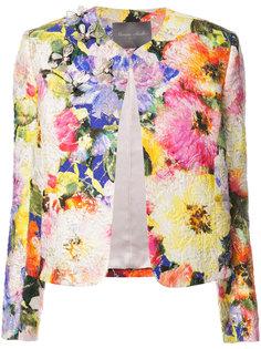 декорированный пиджак с цветочным принтом Monique Lhuillier