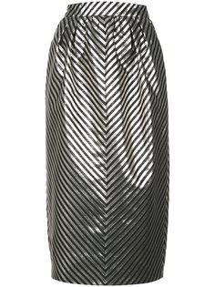 полосатая юбка с отделкой металлик  Monique Lhuillier