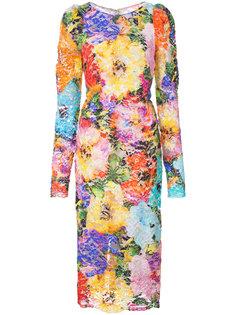 кружевное платье с цветочным принтом Monique Lhuillier