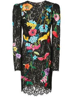 кружевно платье с цветочным принтом Monique Lhuillier