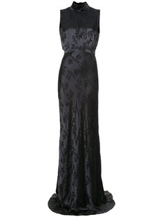 floral pattern nigh neck gown Saloni