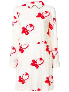 платье с принтом роз Ganni