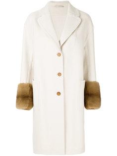 пальто с отделкой из меха лисы  Ermanno Scervino