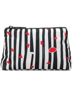 striped lip print makeup bag Lulu Guinness