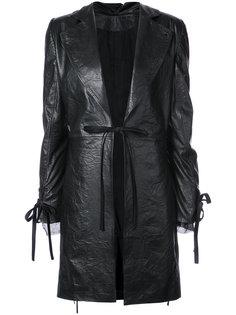 кожаное пальто прямого кроя  Ann Demeulemeester