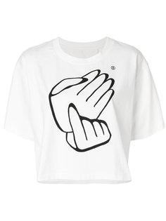 укороченная футболка с принтом рук Mm6 Maison Margiela