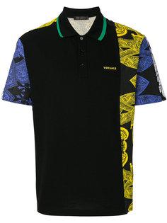 футболка-поло с асимметричным принтом  Versace