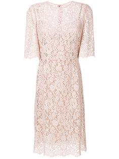 кружевное платье с цветочным принтом Dolce & Gabbana