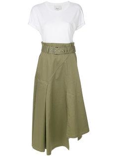 комбинированное платье с поясом 3.1 Phillip Lim