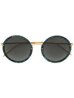 круглые массивные солнцезащитные очки Linda Farrow