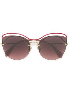 массивные декорированные солнцезащитные очки  Miu Miu Eyewear