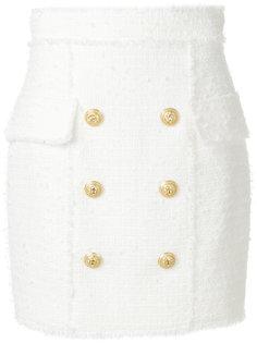 юбка декорированная пуговицами Balmain