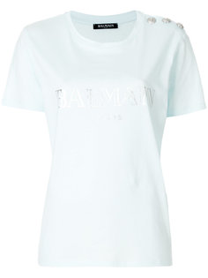 футболка декорированная пуговицами Balmain