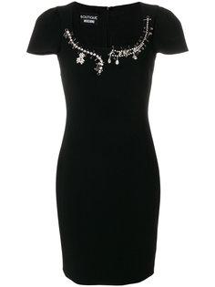 декорированное приталенное платье  Boutique Moschino