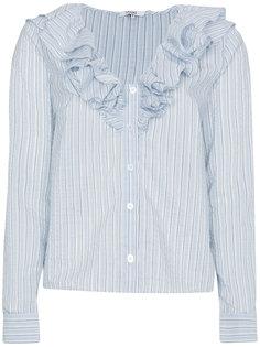 рубашка Charron в полоску с оборками Ganni
