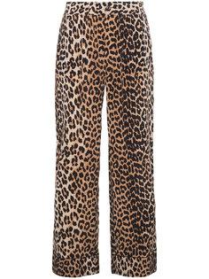 шерстяные брюки с леопардовым принтом  Ganni