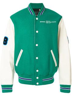 университетская куртка  с заплатками  Diesel