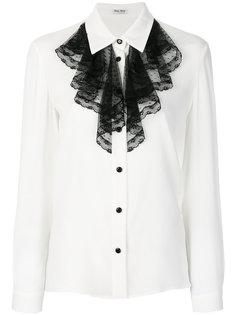рубашка с нагрудником с рюшами Miu Miu