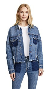 PRPS Drop Shoulder Denim Jacket with Self Fringe