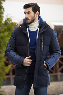 Пуховик с отделкой мехом енота Urban Fashion for men