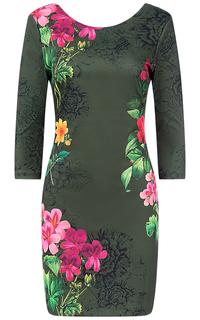 Зеленое платье с принтом Desigual
