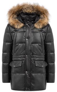Куртка из экокожи на искусственном пуху с отделкой мехом енота Jorg Weber