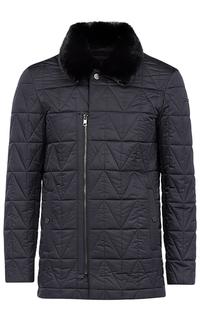 Стеганая куртка с отделкой натуральной кожей и мехом выдры Vittorio Emanuele