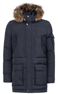 Мужская куртка на искусственном пуху с отделкой мехом енота Jorg Weber
