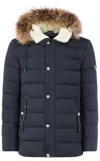 Стеганая куртка на искусственном пуху с отделкой натуральной кожей и мехом енота Urban Fashion for men