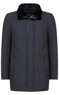 Стеганая куртка с отделкой натуральной кожей и мехом бобра Vittorio Emanuele