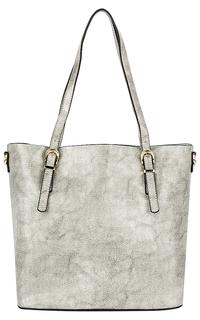 Серая кожаная сумка с тиснением La Reine Blanche
